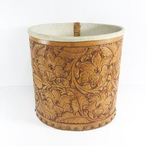 Vintage Hand Tooled Leather Waste Trash Basket